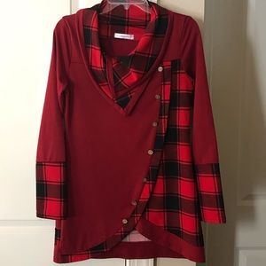 Dressfo red and black plaid tunic
